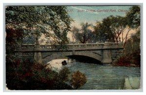 Stone Bridge, Garfield Park, Chicago IL c1914 Postcard K4