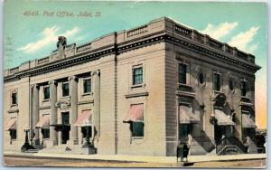 Joliet, Illinois Postcard Post Office Building / Street View w/ 1911 Cancel
