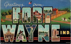 FORT WAYNE, IN Indiana    LARGE LETTER LINEN    1951   Curt Teich    Postcard
