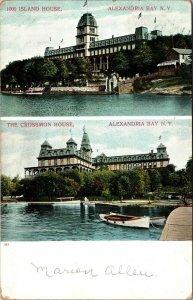 Postcard NY New York 1000 Island House Alexandra Bay Two Views Posted 1912