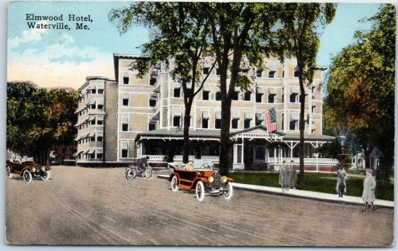Waterville, Maine Postcard ELMWOOD HOTEL Street View c1910s