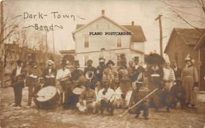 BLACK AMERICANA DARKTOWN BAND-EARLY 1900'S  RPPC REAL PHOTO POSTCARD