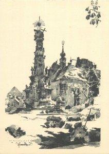 Postcard Hungary Budapest ww2 disaster artist