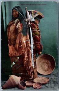 Piute Indios Woman & Papoose Antigüedad Tarjeta Postal