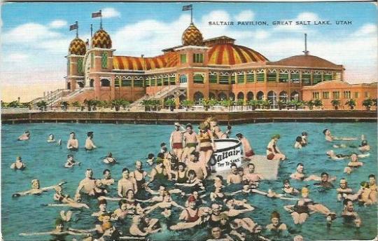Saltair Pavilion Great Salt Lake Utah Swimmer floating in Saltiest Body of Water