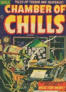 Chamber Of Chills 1950s Comic Skeleton Smoking Typewriter Postcard