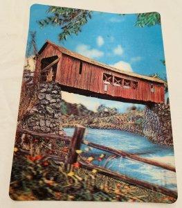 Covered Bridge over Water-3-D Unusual Vintage Novelty Postcard