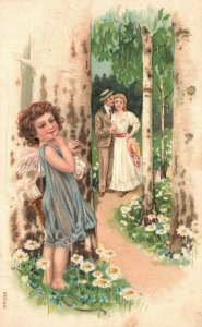 Vintage Postcard 1908 Man & Woman Standing on Path Young Girl Angel Love