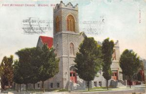 Wausau Wisconsin~First Methodist Church~Stone Building with Large Tower~1913 Pc