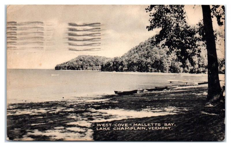1945 West Cove, Malletts Bay, Lake Champlain, VT Postcard