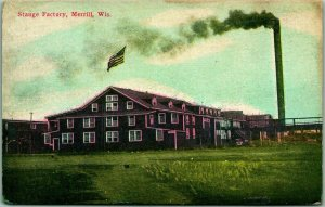 Merrill, Wisconsin Postcard STANGE FACTORY Lumber Mill Sawmill c1910s Unused