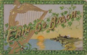 St Patrick's Day With Landscape Scene Gold Harp and Shamrocks 1915