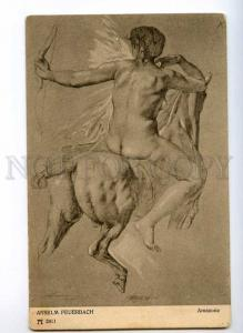 244518 NUDE Woman on HORSE AMAZON by FEUERBACH Vintage PC