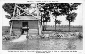 Stuttgart Arkansas~Rice Belt~Water Irrigation Tower~1940s B&W Postcard