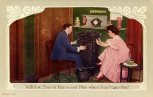 Will you stay at home when you marry me?    (Romance)