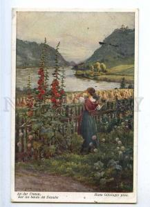 187036 Danube River FLOWERS Woman by GOTZINGER Vintage PC
