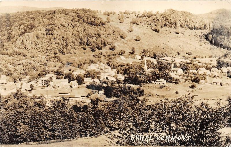 Manchester? Vermont~Rural Vermont~Bird's Eye View of Town in Valley~1940 RPPC
