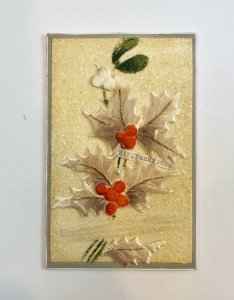 1907 New Year Postcard - Glitter - Handmade VIntage Heavily-Embossed - POSTED