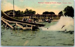 Toledo Beach, Ohio Postcard Making a Splash Chutes Slide Scene 1911 *Creased