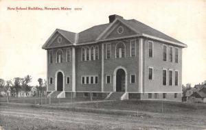 Newport Maine New School Building Street View Antique Postcard K93965