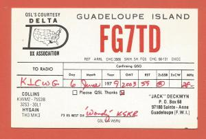 QSL AMATEUR RADIO CARD– SAINTE ANNE, GUADELOUPE – 1979