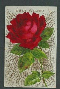 1913 Post Card Best Wishes Red Rose W/Gold & Green