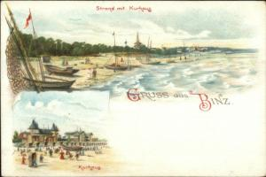 Gruss Aus Binz Strand mit Kurhaus c1900 Postcard