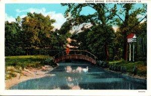 Louisiana Alexandria City Park Rustic Bridge Curteich