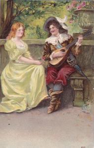 Man playing mandolin serenading pretty lady, Pink Rose, 00-10s