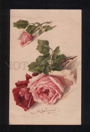 052340 Charming Pink ROSES on table by C. KLEIN vintage PC