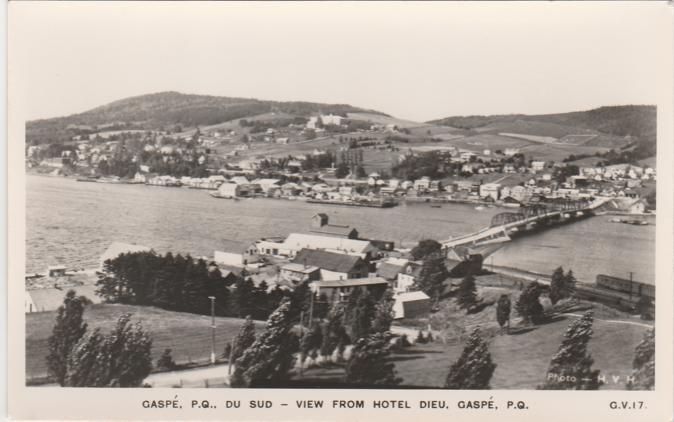 RPPC View from Hotel Dieu - Gaspe QC, Quebec, Canada