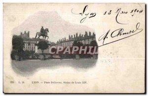 Postcard Old Lyon Bellecour Square Statue of Louis XIV