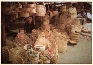 Phnom Penh Craft Workers Cambodia Basket Making Kampuchean Postcard