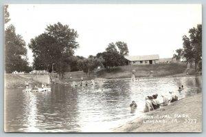 LeMars Iowa~Municipal Park~Bathing Beauties on Beach~Diving Platform~1940s RPPC