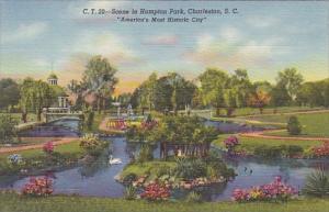 Scene In Hampton Park Charleston South Carolina Americasw Most Historic City