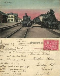 norway norge, HELL, Railway Station with Steam Train (1914) Stamp