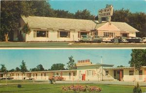 Clayton NY~Person Buys Pop From Machine~New C-Way Tourinn~VW Beetle~1950s