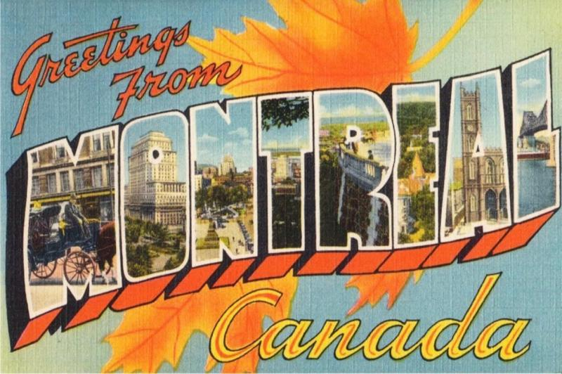 Large Letter Postcard Greetings from Montreal - Repro Postcard