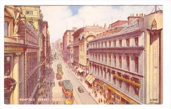 Austin Reed Store Renfield Street Trolleys Glasgow Scotland Uk 1900 1910s Hippostcard