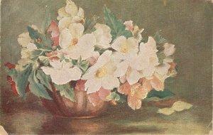 Beautiful flowers in vase Nice old vintage Spanish postcard