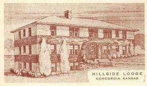 HILLSIDE LODGE Concordia, Kansas Roadside c1940s Vintage Postcard