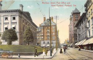 Portland Oregon~Morrison Street~Post Office~Hotel Portland~Lady in Window~c1910