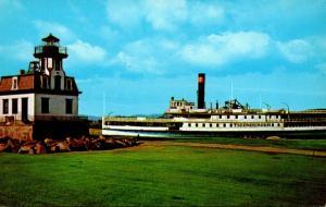 Vermont Shelburne Colchester Reef Lighthouse & Sidewheeler Ticonderoga