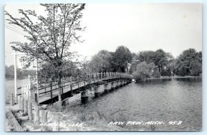 Postcard MI Paw Paw Maple Isle Wooden Foot Bridge RPPC Real Photo A08