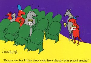 Urinating In Cinema Seats Animal Comic Toilet Humour Postcard