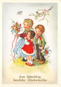 BG20694 bird children with flower  birthday  geburtstag   germany