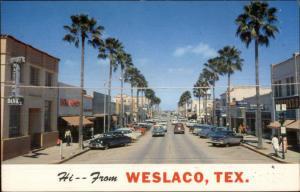 Weslaco TX Street Scene Old 1950s Cars Postcard