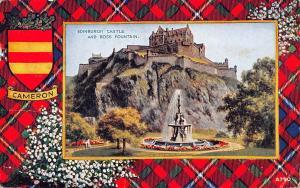 Edinburgh Castle, Ross Fountain, Cameron Coat of Arms Tartan, White Heather 1954