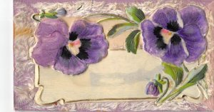Purple floral embossed, rised up Novelty Writing on Back