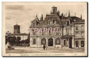 Old Postcard Bank Valencia Caisse d & # 39Epargne and the cathedral